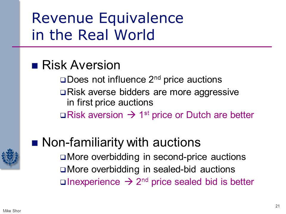 Revenue Equivalence in the Real World