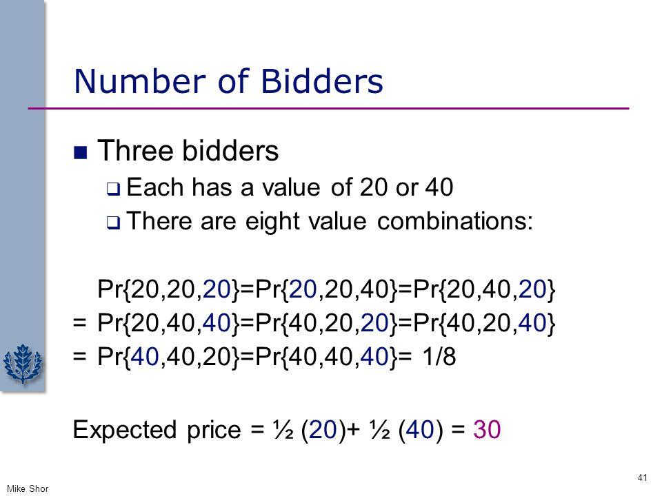 Number of Bidders Three bidders Each has a value of 20 or 40