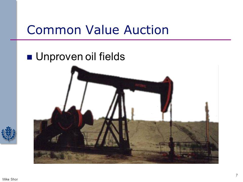 Common Value Auction Unproven oil fields Mike Shor