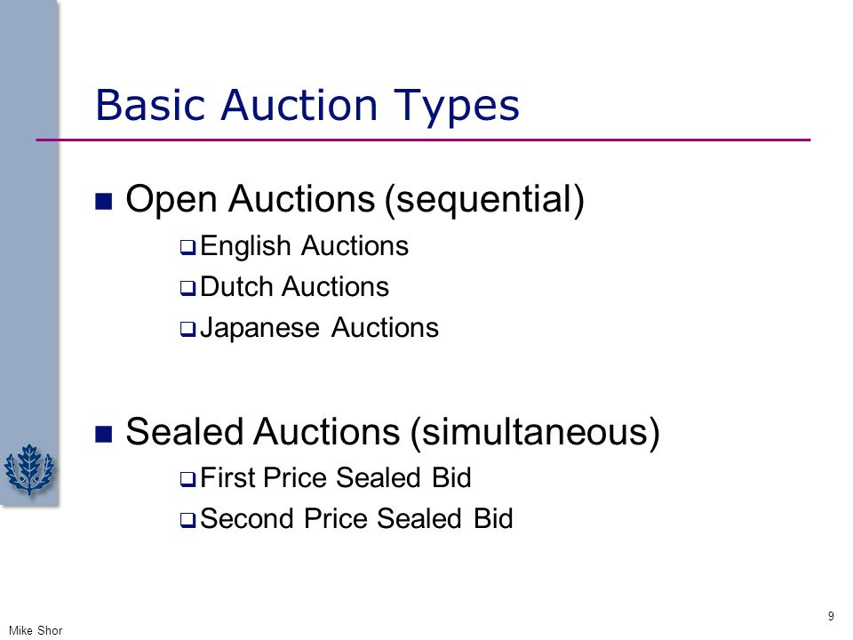 Basic Auction Types Open Auctions (sequential)