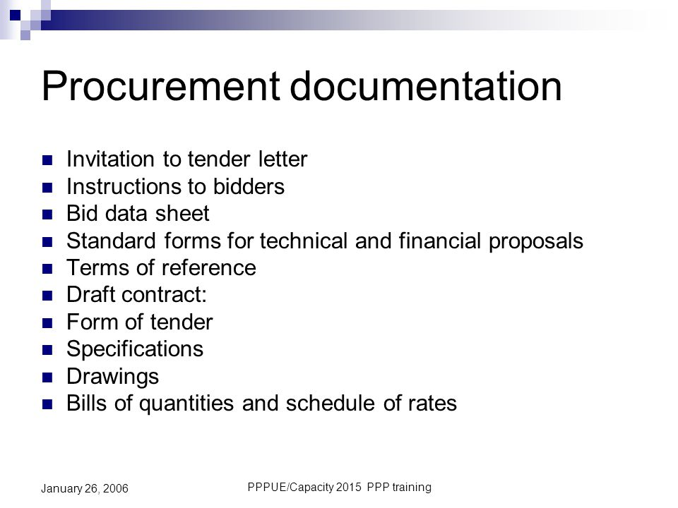 Procurement documentation