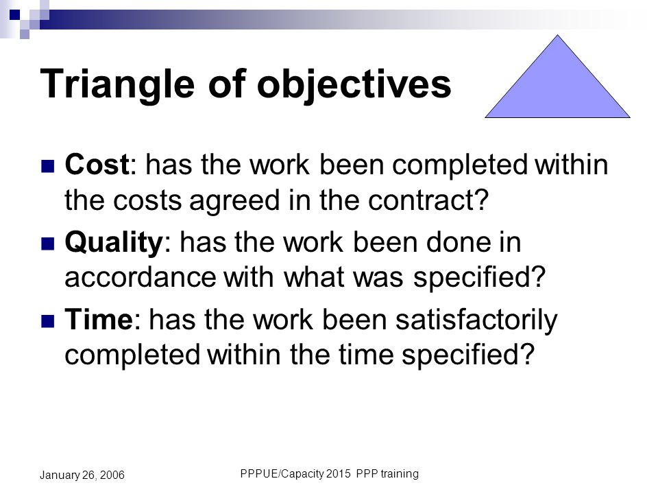 Triangle of objectives