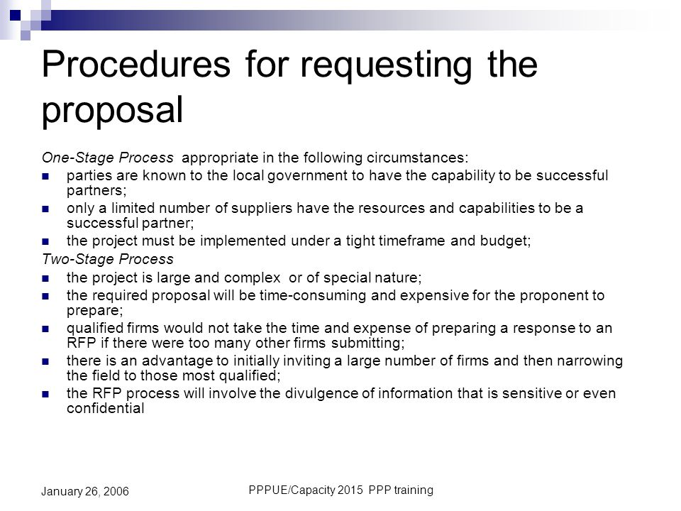 Procedures for requesting the proposal