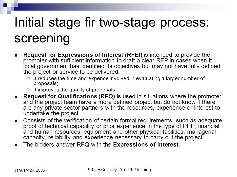 Initial stage fir two-stage process: screening