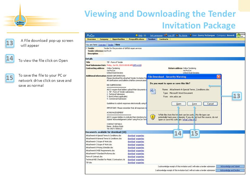 Viewing and Downloading the Tender Invitation Package