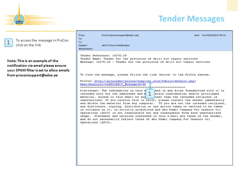 Tender Messages 1 1 To access the message in ProCon click on the link