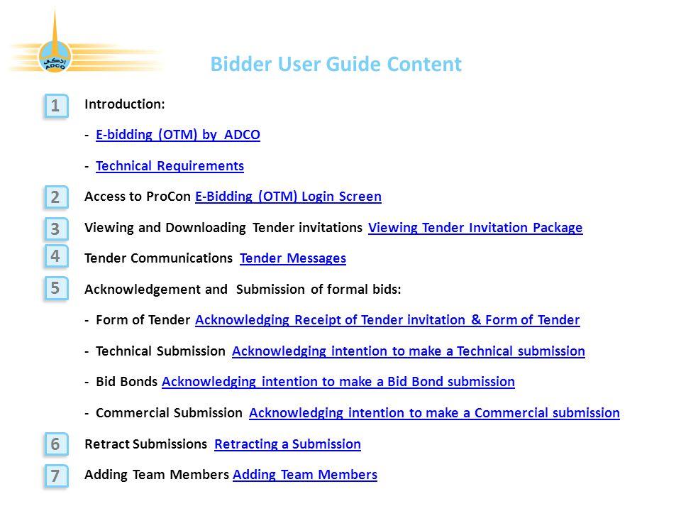 Bidder User Guide Content