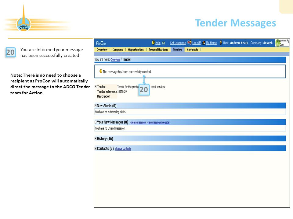 Tender Messages 20 12 20 You are informed your message