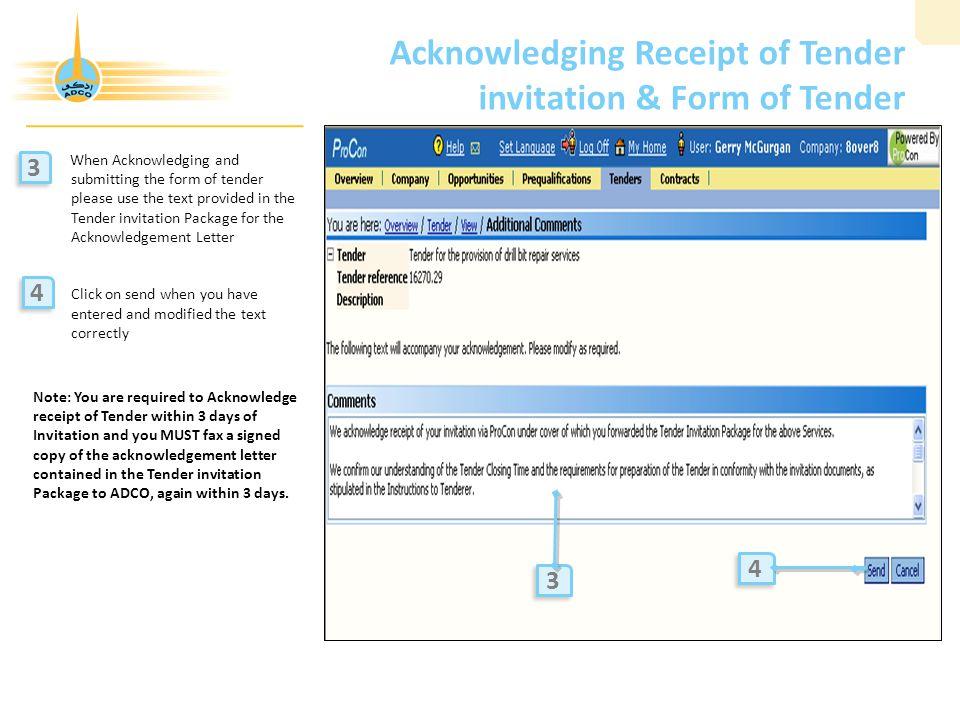 Acknowledging Receipt of Tender invitation & Form of Tender