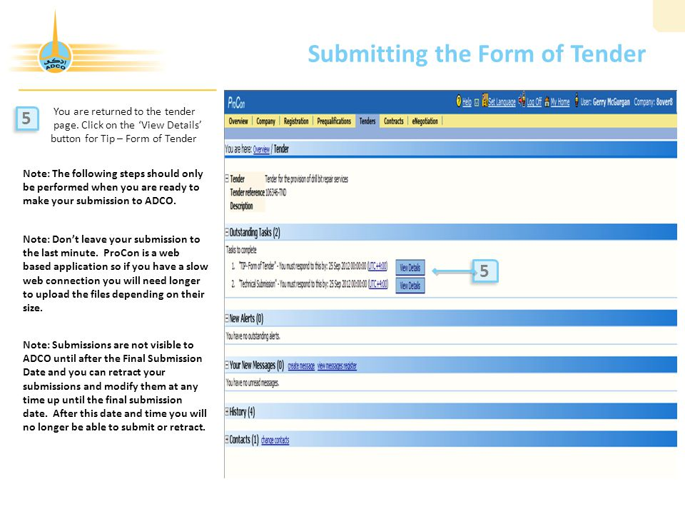 Submitting the Form of Tender