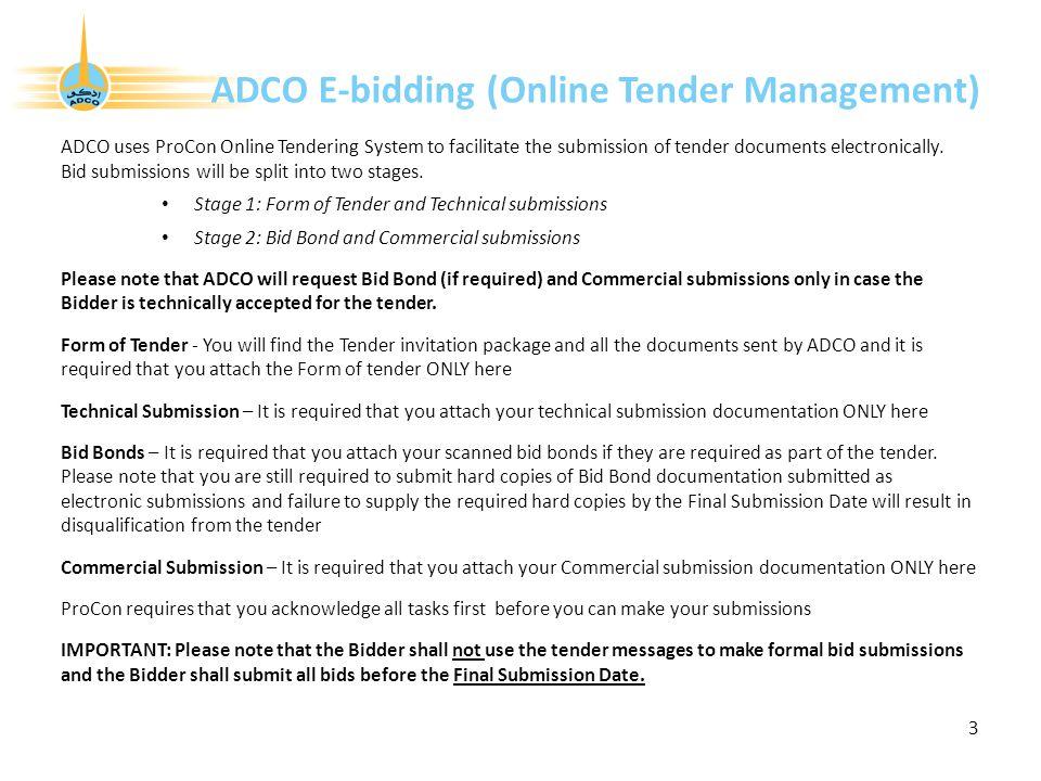 ADCO E-bidding (Online Tender Management)