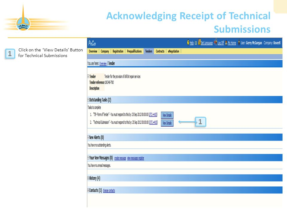 Acknowledging Receipt of Technical Submissions
