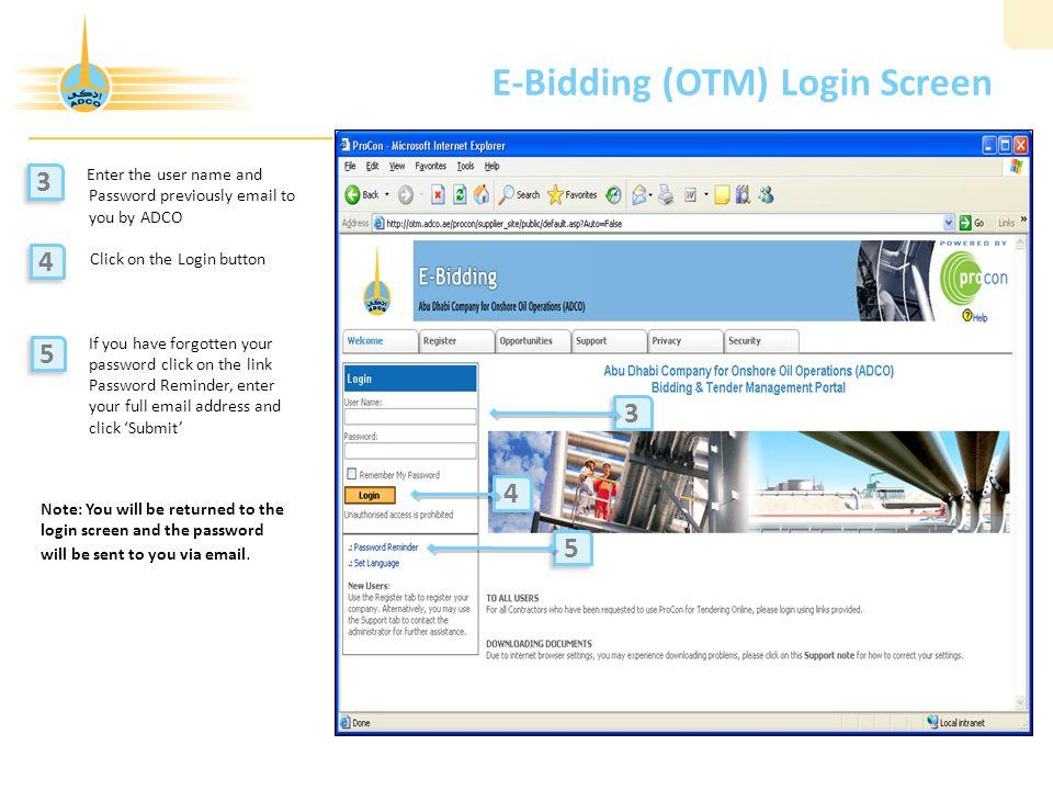E-Bidding (OTM) Login Screen