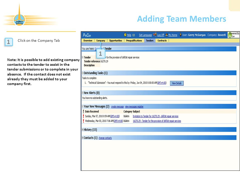 Adding Team Members 1 1 Click on the Company Tab