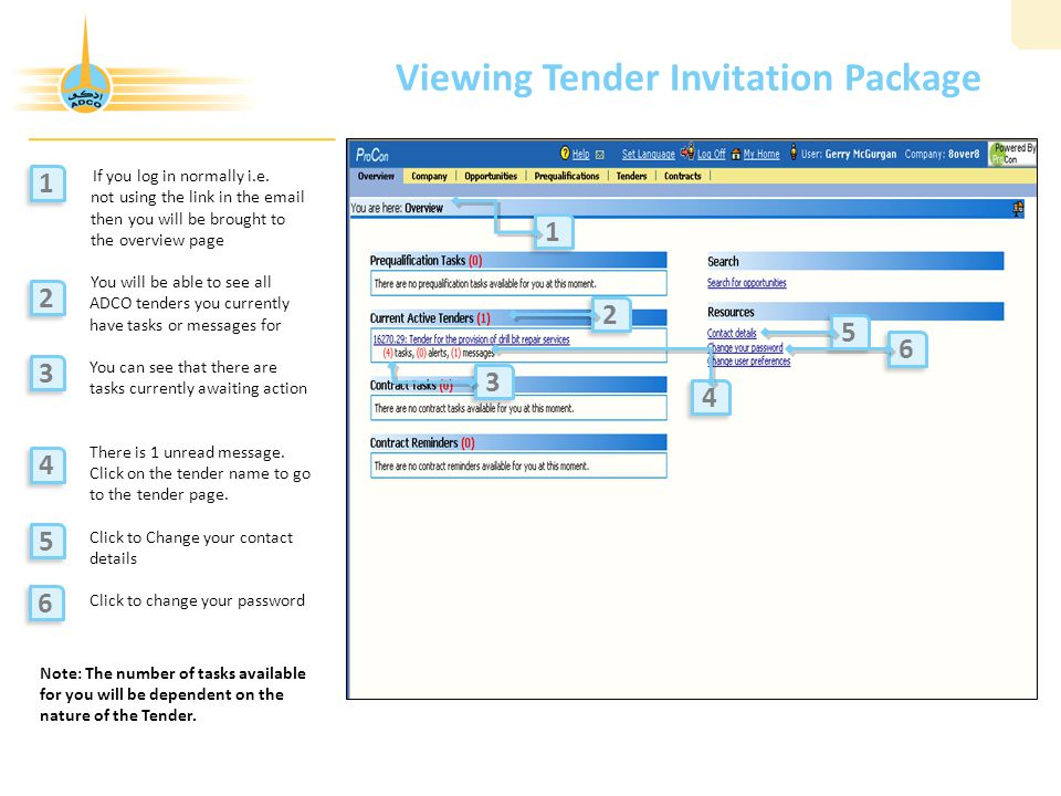 Viewing Tender Invitation Package