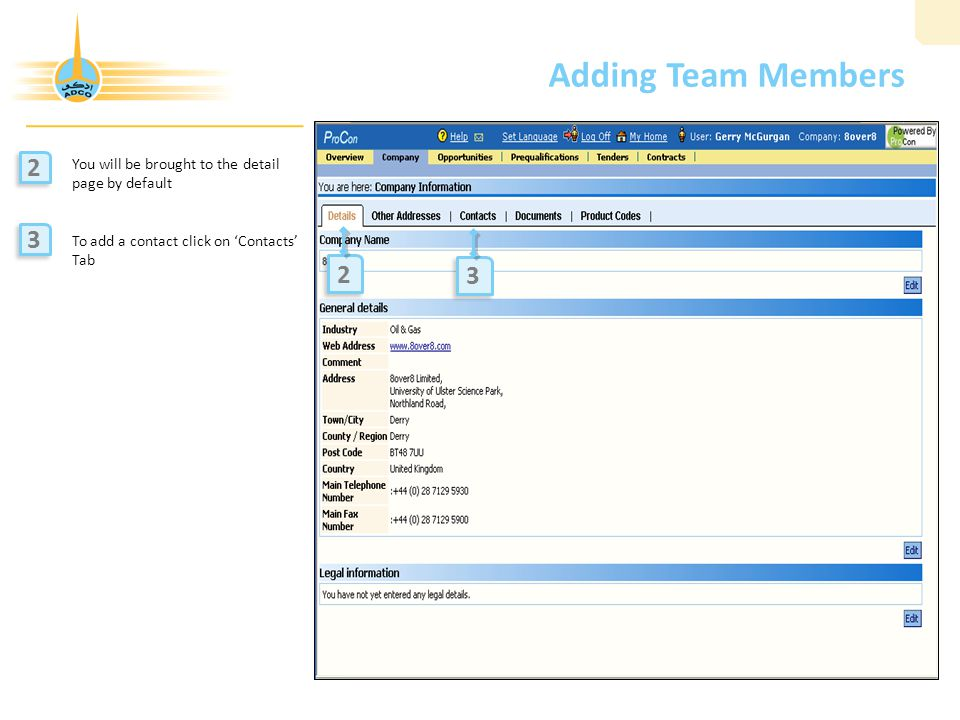 Adding Team Members 2 3 2 3 You will be brought to the detail