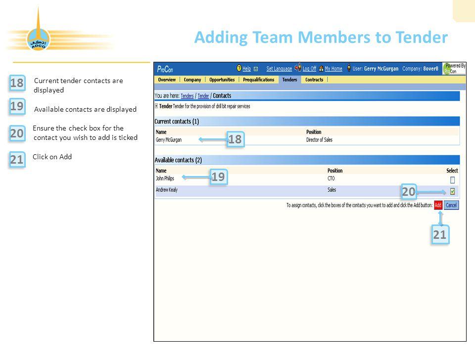 Adding Team Members to Tender