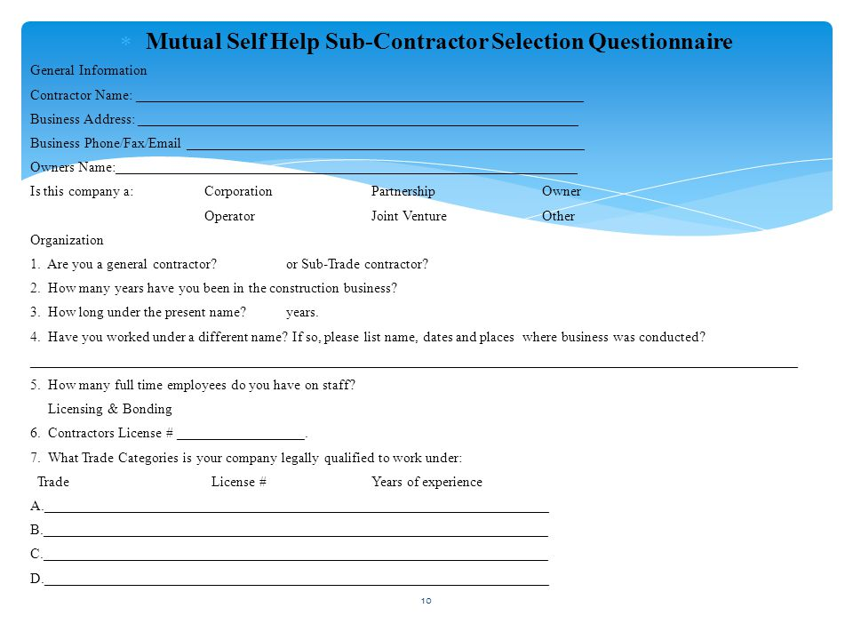 Mutual Self Help Sub-Contractor Selection Questionnaire