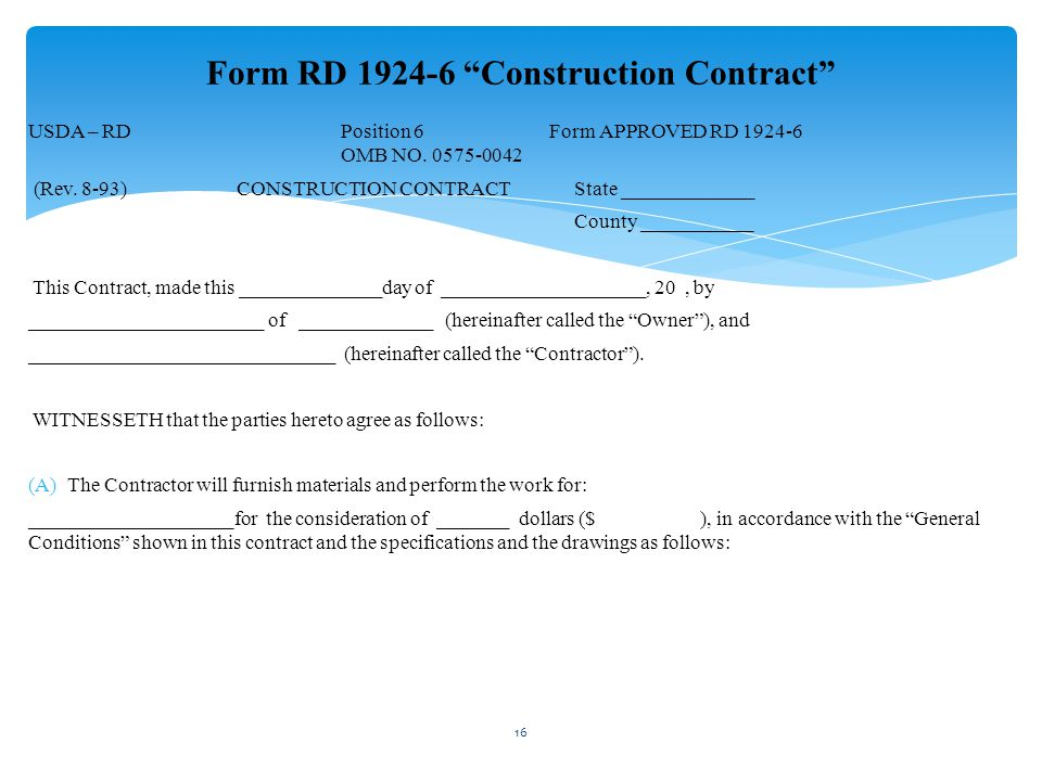 Form RD 1924-6 Construction Contract