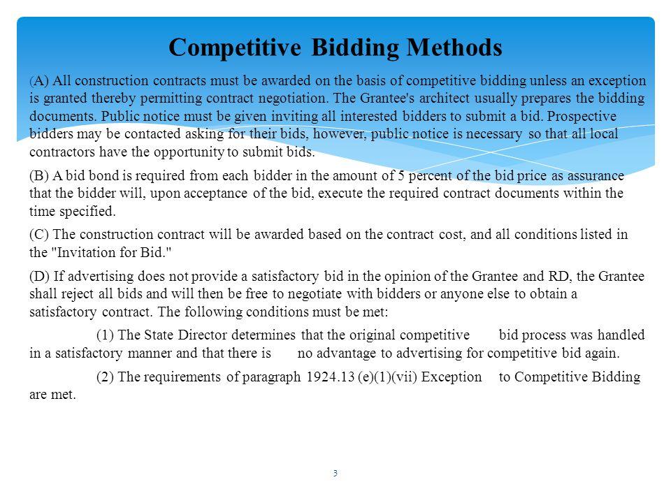 Competitive Bidding Methods