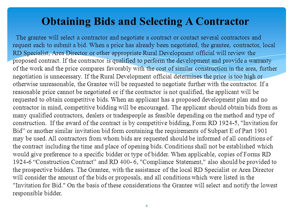 Obtaining Bids and Selecting A Contractor