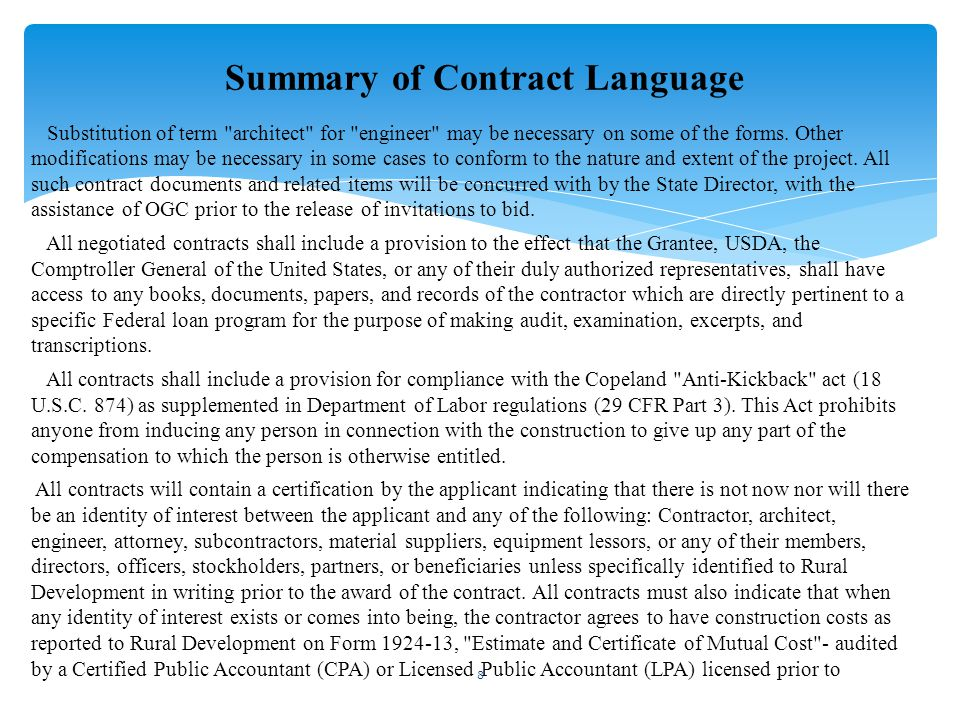 Summary of Contract Language