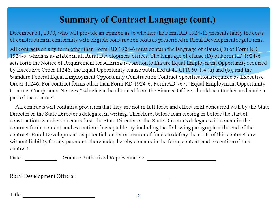 Summary of Contract Language (cont.)