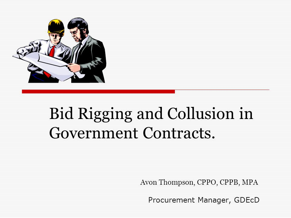 Bid Rigging and Collusion in Government Contracts.