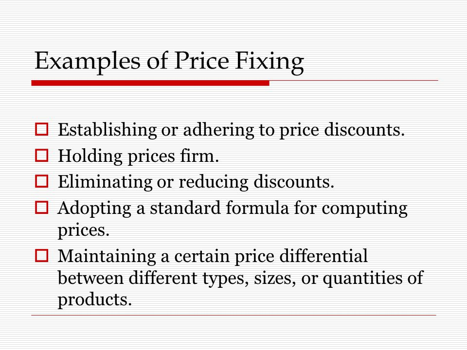 Examples of Price Fixing