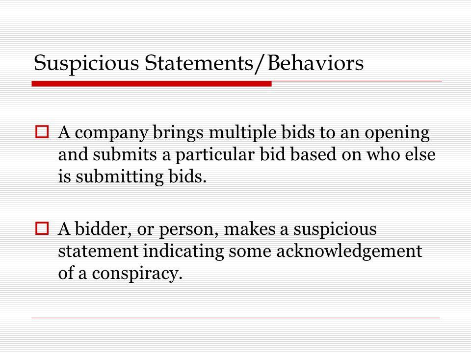 Suspicious Statements/Behaviors