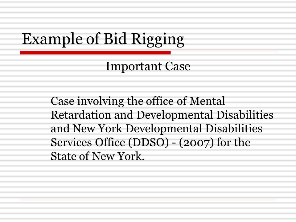 Example of Bid Rigging Important Case