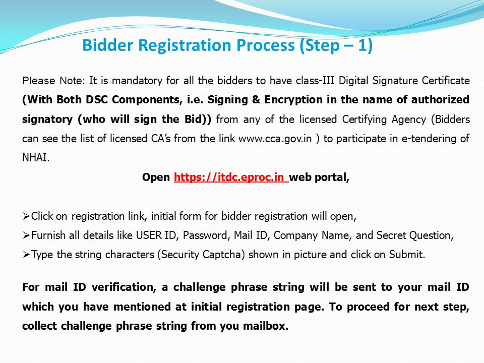 Bidder Registration Process (Step – 1)