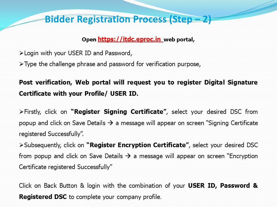 Open https://itdc.eproc.in web portal,
