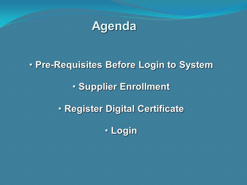Pre-Requisites Before Login to System Register Digital Certificate