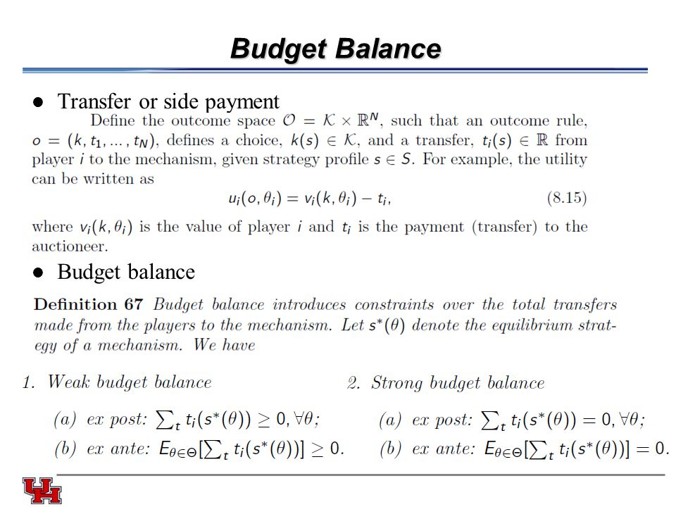 Budget Balance Transfer or side payment Budget balance