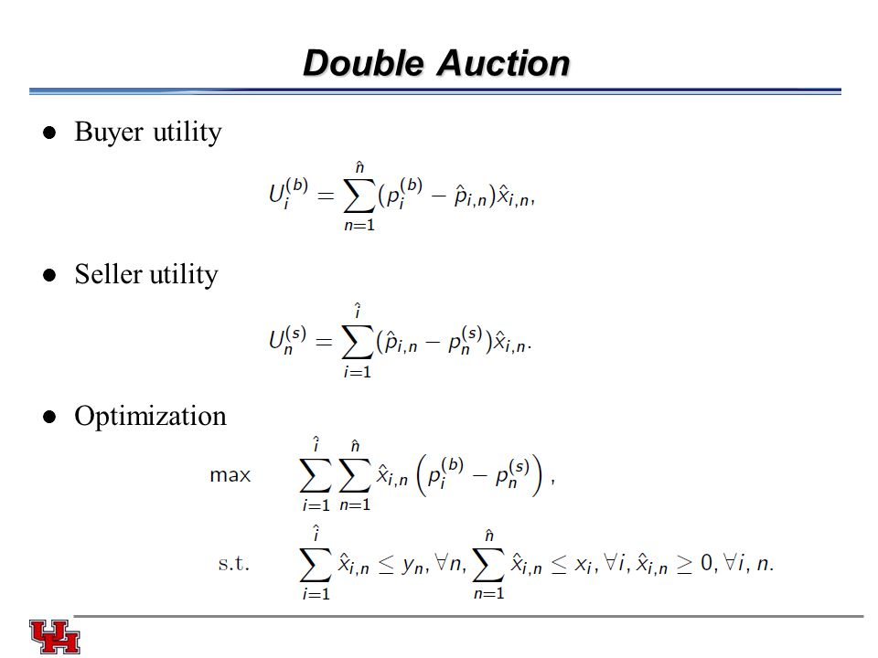 Double Auction Buyer utility Seller utility Optimization