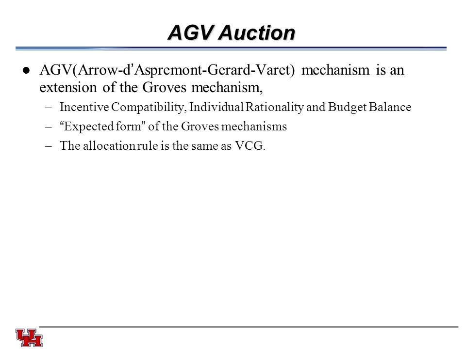AGV Auction AGV(Arrow-d'Aspremont-Gerard-Varet) mechanism is an extension of the Groves mechanism,