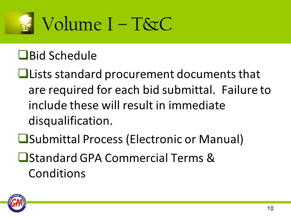 Volume I – T&C Bid Schedule