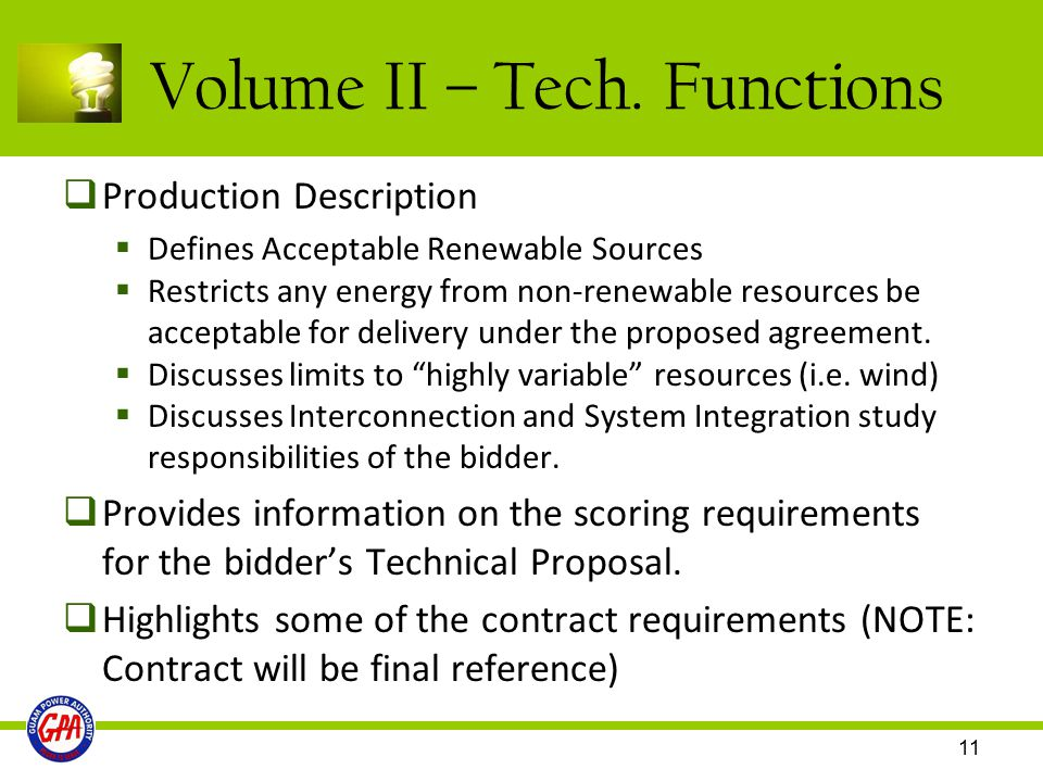 Volume II – Tech. Functions