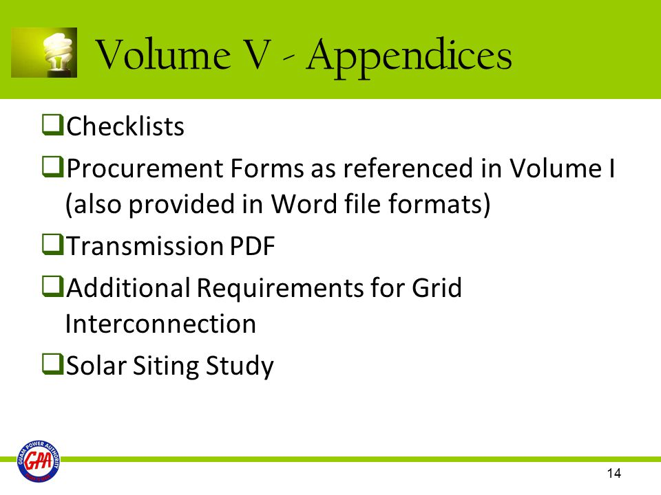 Volume V - Appendices Checklists
