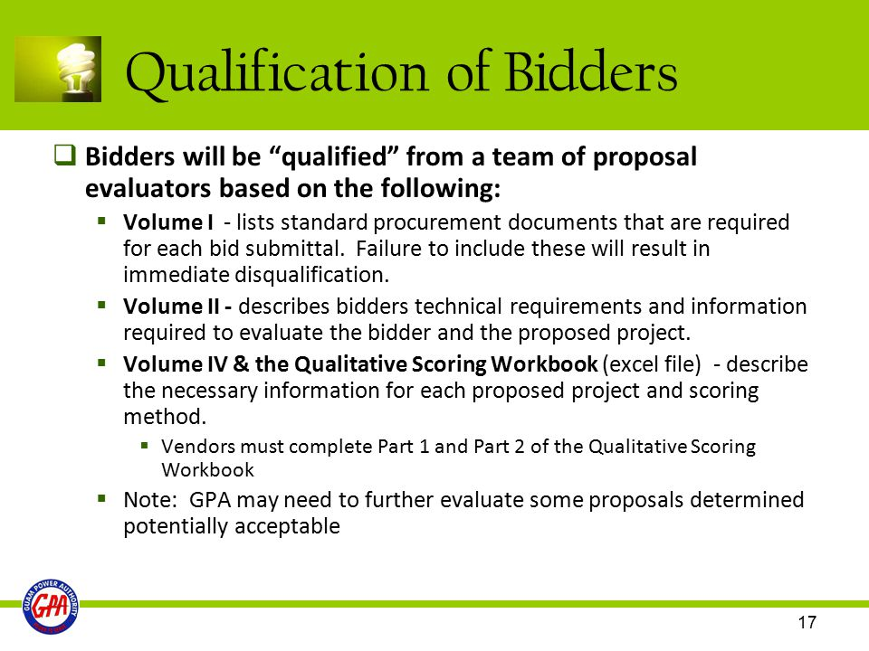 Qualification of Bidders