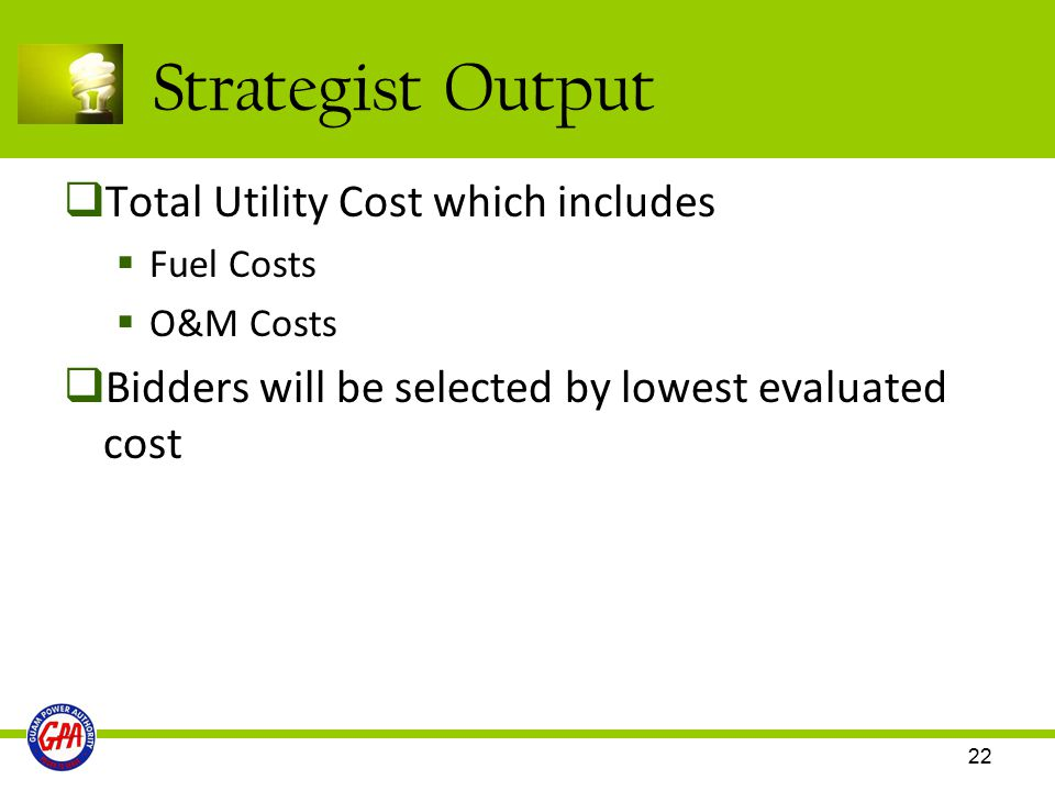 Strategist Output Total Utility Cost which includes