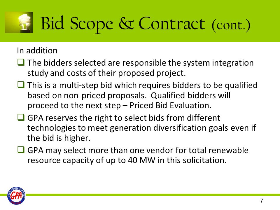 Bid Scope & Contract (cont.)
