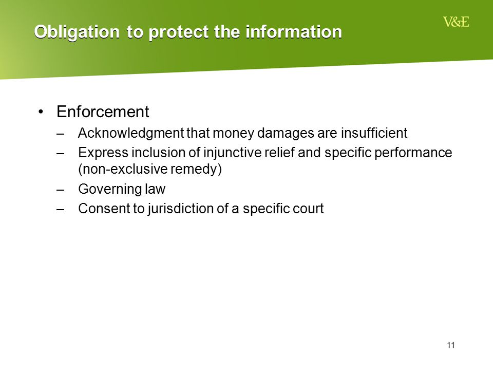 Obligation to protect the information