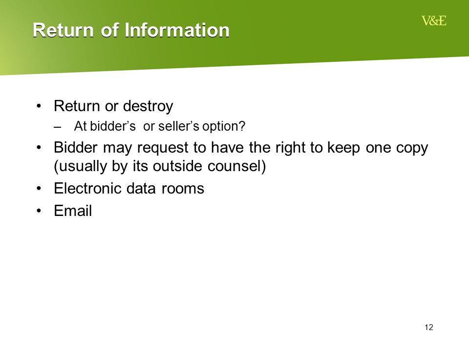 Return of Information Return or destroy