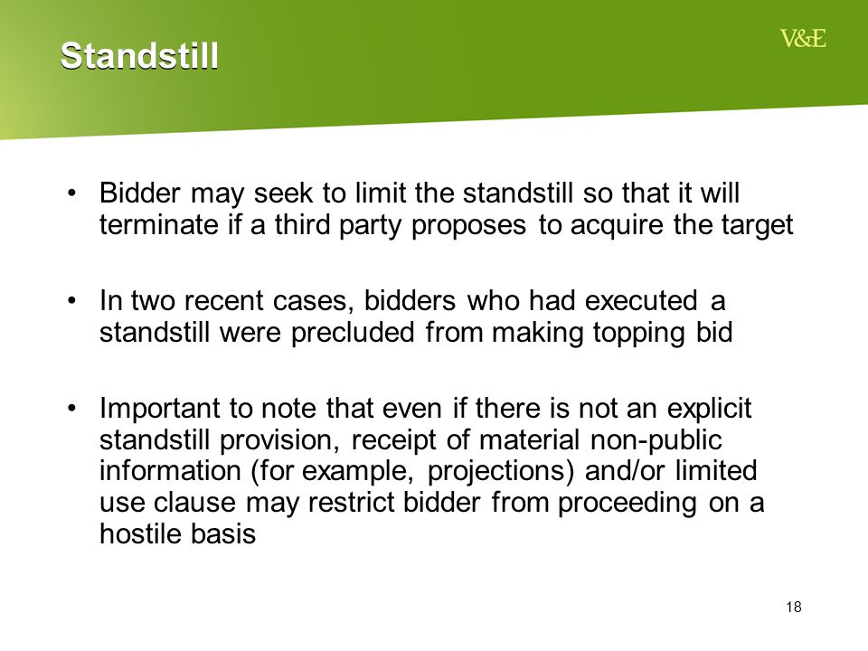 Standstill Bidder may seek to limit the standstill so that it will terminate if a third party proposes to acquire the target.