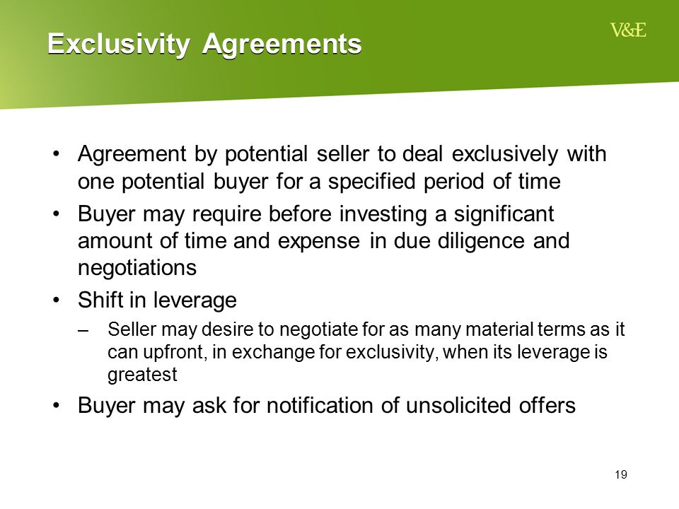 Exclusivity Agreements