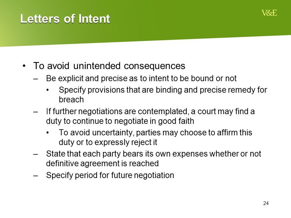 Letters of Intent To avoid unintended consequences