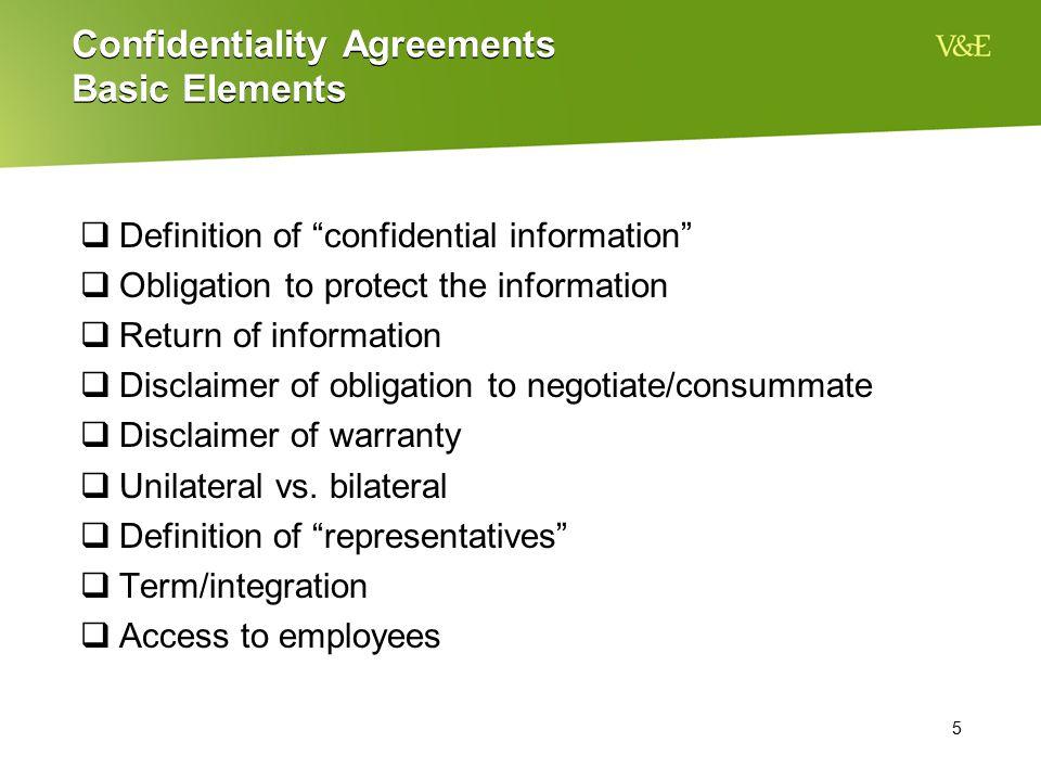 Confidentiality Agreements Basic Elements