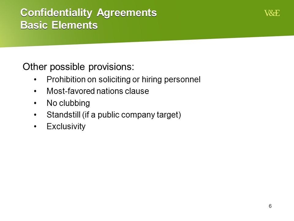 Confidentiality Agreements Basic Elements